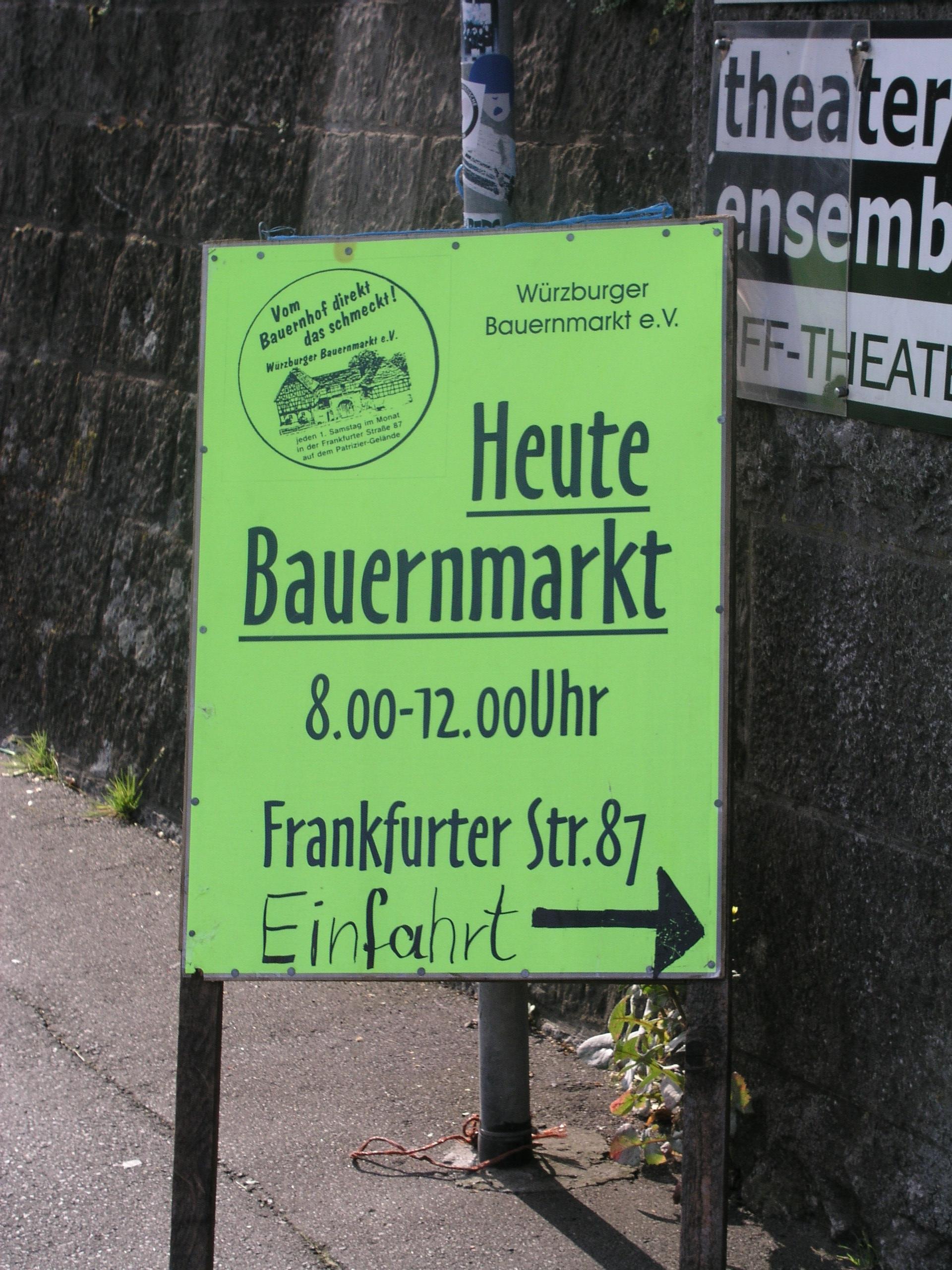 Schild Bauernmarkt im Bürgerbräu